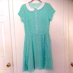 Shabby Apple Mint Green Dress with Polka  Dots